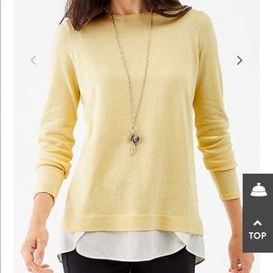J.Jill Yellow Sweater with Shirt Tail